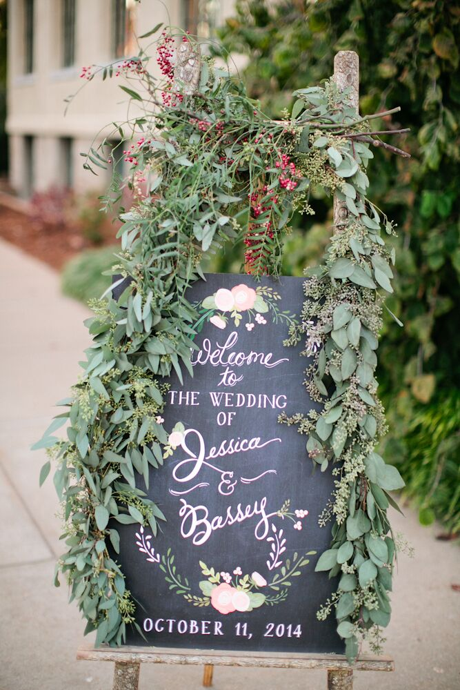 Seeded Eucalyptus, Red-Berry-Decorated Wedding Chalkboard