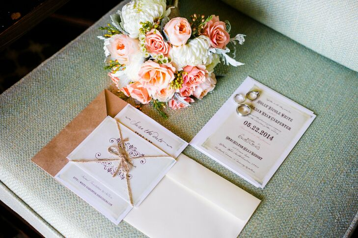 A vintage font and rustic twine gave the invitation suite a relaxed feel.