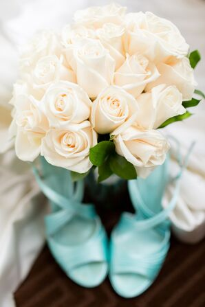 Ivory Rose Bouquet and Turquoise Wedding Heels