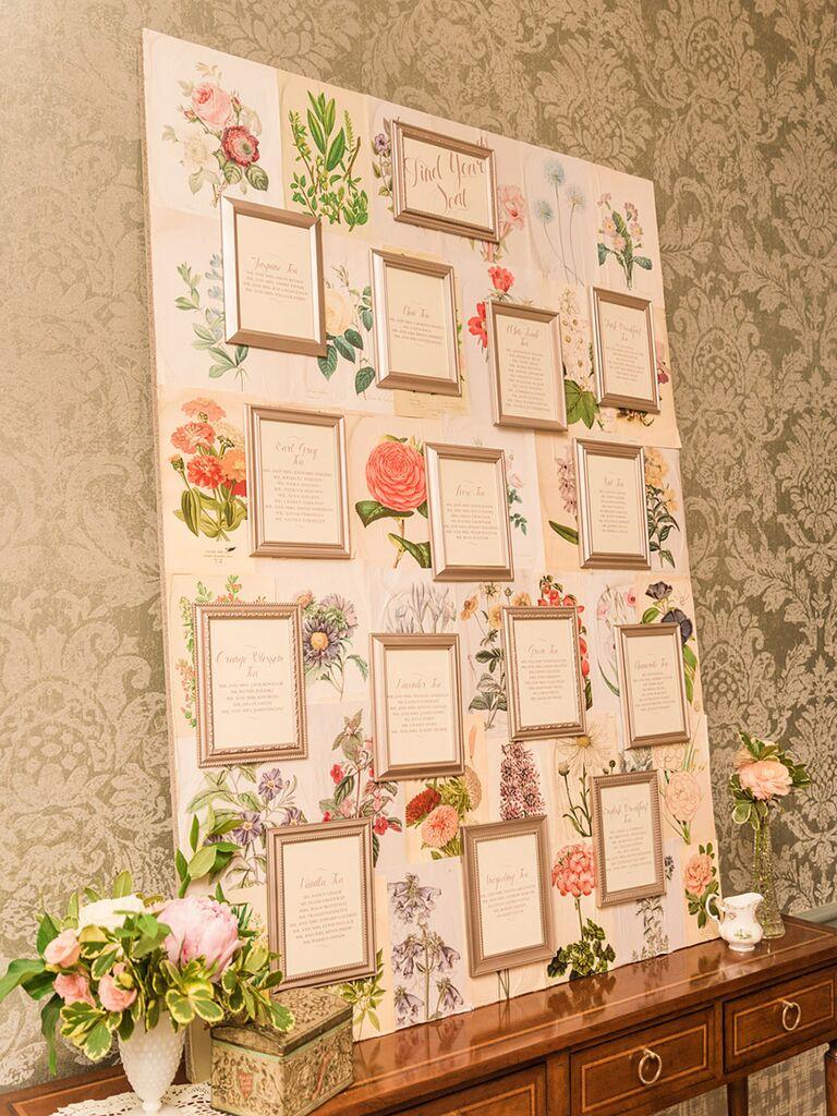 DIY wedding reception escort card display
