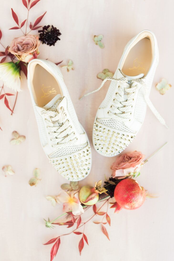 Modern Ivory Sneakers with Gold Studs