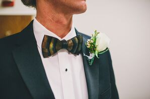 Ornate Black-and-Brown-Striped Bow Tie