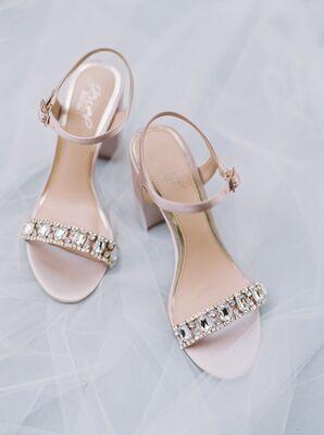 Blush, Crystal-Embellished Block Heels