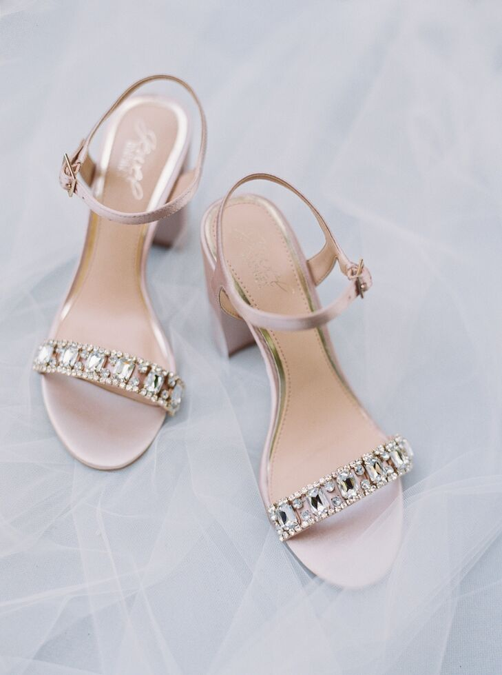 Blush, Crystal-Embellished Block Heels