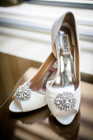 Crystal Brooch-Embellished Badgley Mischka Heels