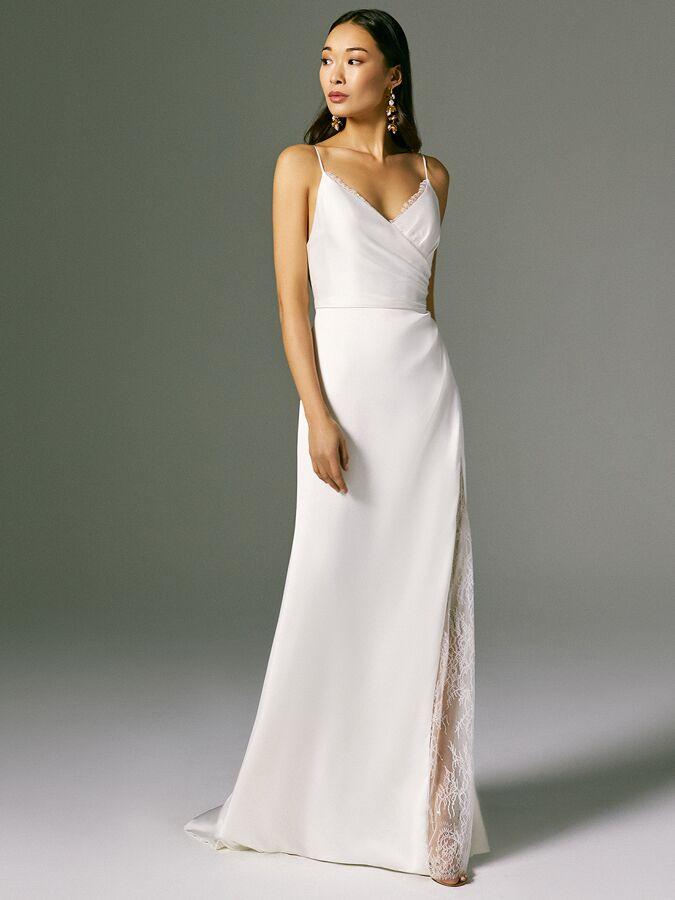 Savannah Miller satin wedding dress with wrap bodice