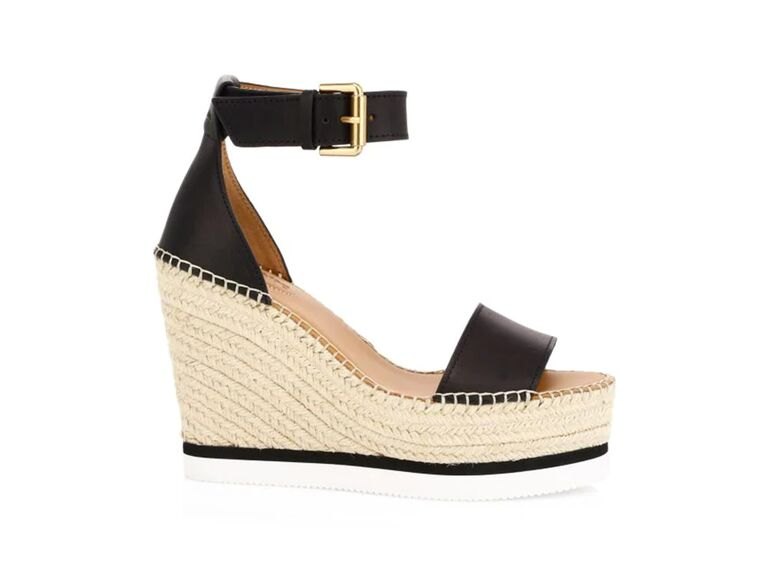 See by Chloé Glyn leather platform espadrille wedge sandals in Black