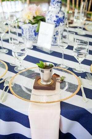 Preppy Navy, White and Gold Tablescape
