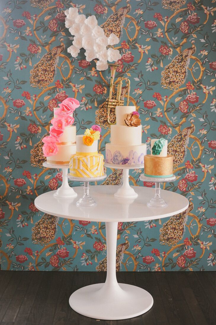 Color blocking—from the cake display to the tablescapes—was a dominant theme throughout the reception.