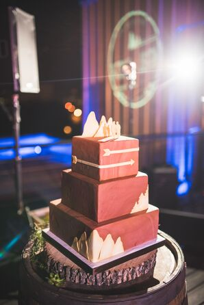 Tiered Square Cake with Wood-Grain Fondant Detail