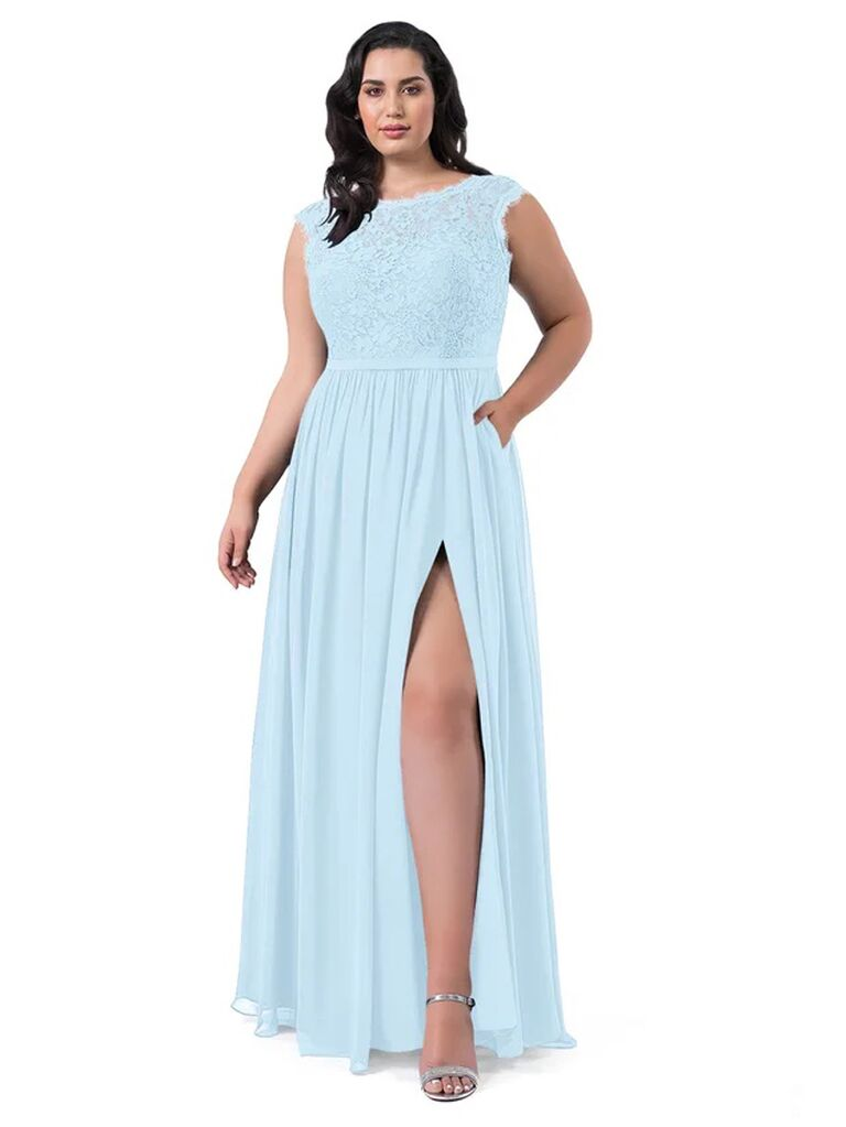 azazie light blue winter bridesmaid dress with lace