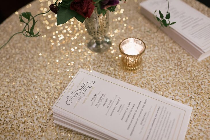 Programs, created by Periscope,  were printed on ivory card stock and included black and gold print. They were simple and elegant, just like the celebration.