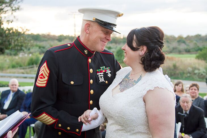 Ceremony with Bride and Military Father