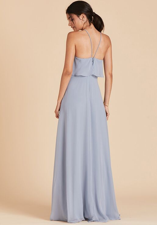 Birdy Grey Jules Chiffon Dress in Dusty Blue Halter Bridesmaid Dress
