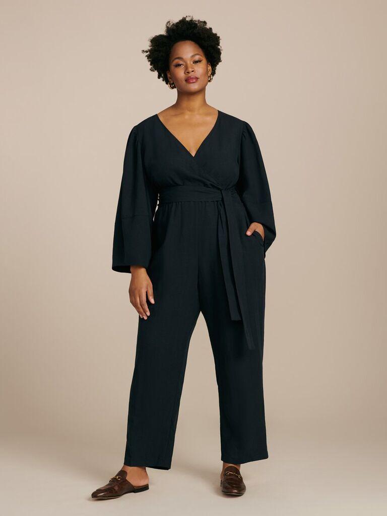 Black long sleeve plus size jumpsuit