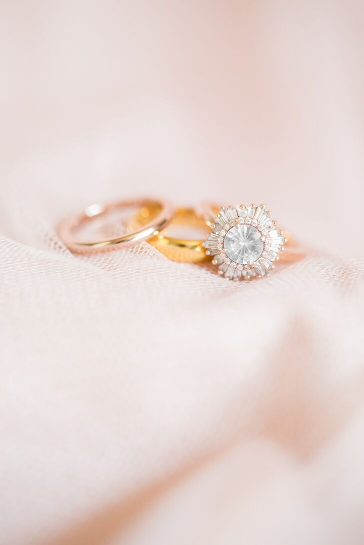 Julie coordinated her wedding day shoes and dress to complement her rose-gold engagement ring.