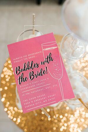 Champagne-Inspired Stationery for Wedding at Cherry Hall in Kansas City, Missouri