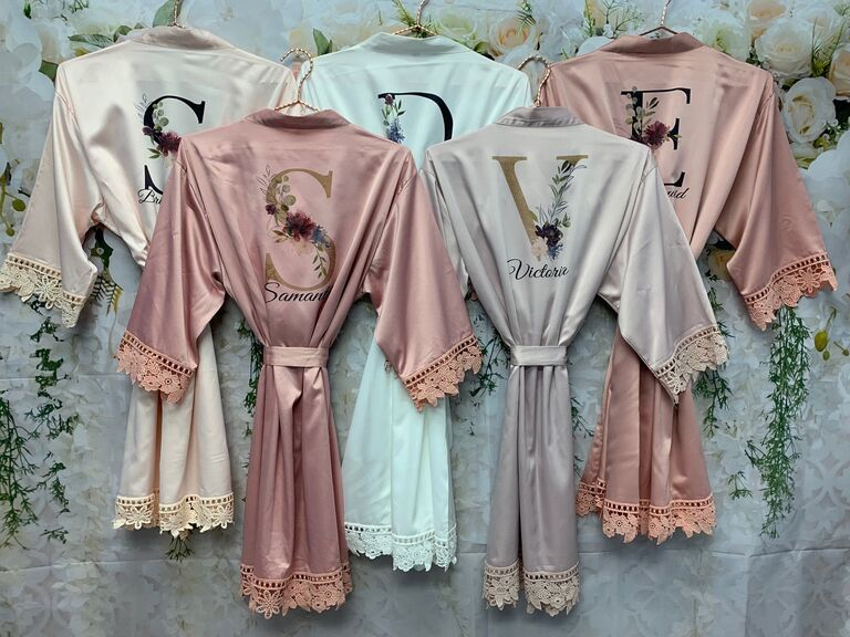 Personalized floral bridesmaid robes