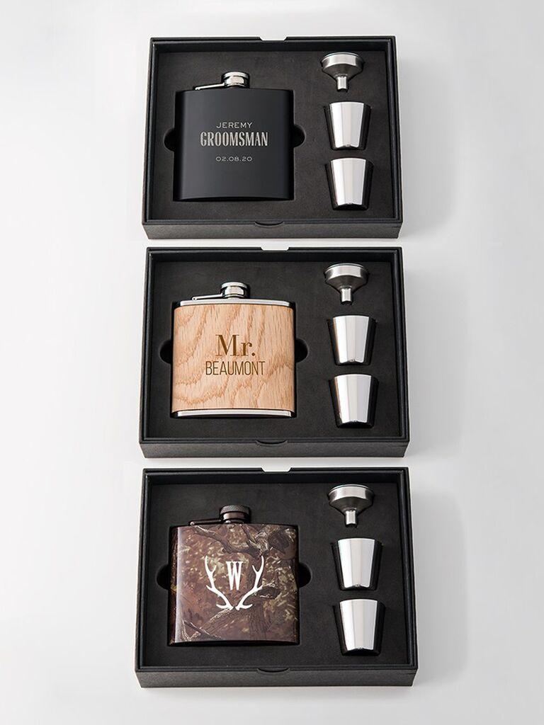 Flask and shot glass groomsmen gift box set
