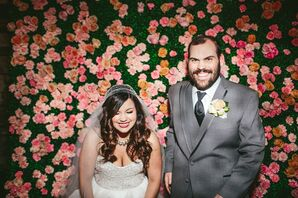 Pink and Green Flower Wall Backdrop
