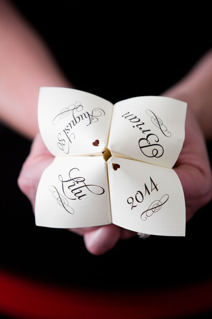 Instead Of Traditional Ceremony Programs The Couple Opted For Playful Cootie Catchers Couples