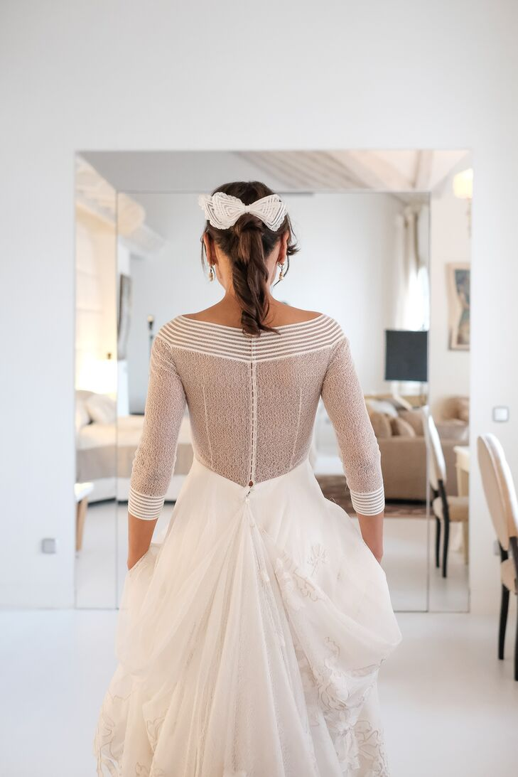 Bow-Embellished Bridal Ponytail