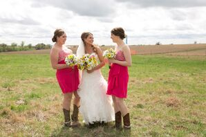 Katie and Bridesmaids in Pink Dresses and Cowboy Boots
