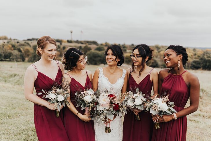 Rustic Red Bridesmaid Dresses