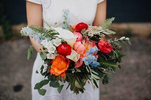 Bright Peony, Delphinium and Eucalyptus Bouquet