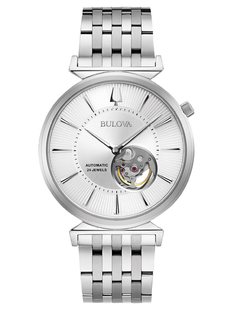 Stainless steel open aperture dial watch 25th anniversary gift