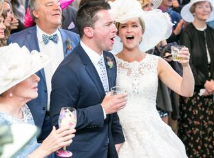 Trish Kreikemeier (30 and a pediatric nurse) and Andy Ruszkowski (30 and a marketing manager) met at the Kentucky Derby, which inspired the equine ref