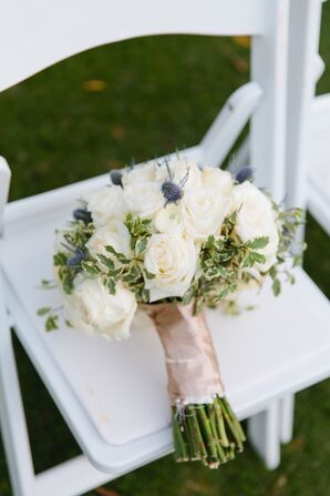 Ivory Rose Bridal Bouquet Accented with Blue Thistles
