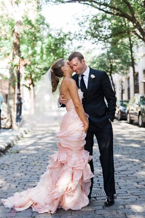 Pink Ruffled Leanne Marshall Wedding Dress