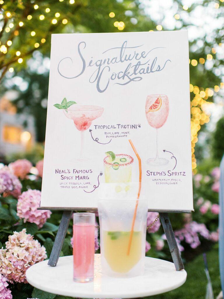 Elegant whimsical signage at backyard garden wedding