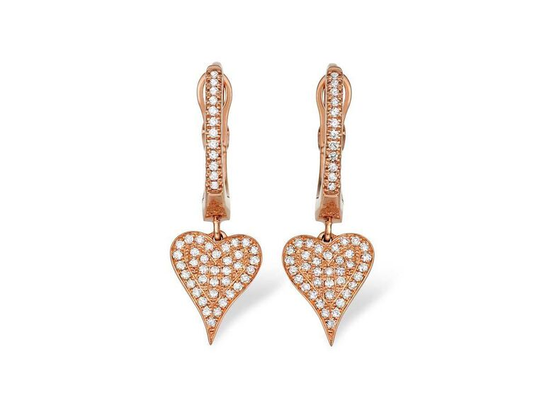 Heart-shaped drop earrings with pavé diamonds and rose gold