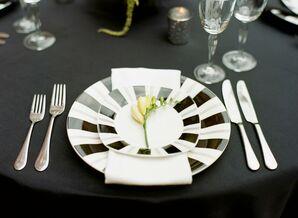 Modern Black and White Striped Dinnerware