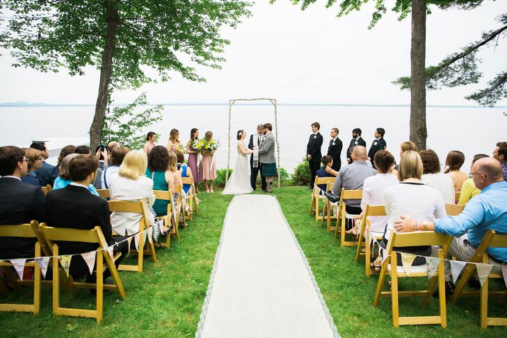 "Although the wedding's theme was British tea-party inspired, Maine holds a special place for Emma and Graham, and the pair wouldn't let the day pass by without a few nods to their home state. ""We wanted to tie in a few Maine details,"" Emma says, ""so we incorporated a white birch arbor and a canoe cooler for the drinks, and we had our guests sign an old map of Sebago Lake."""