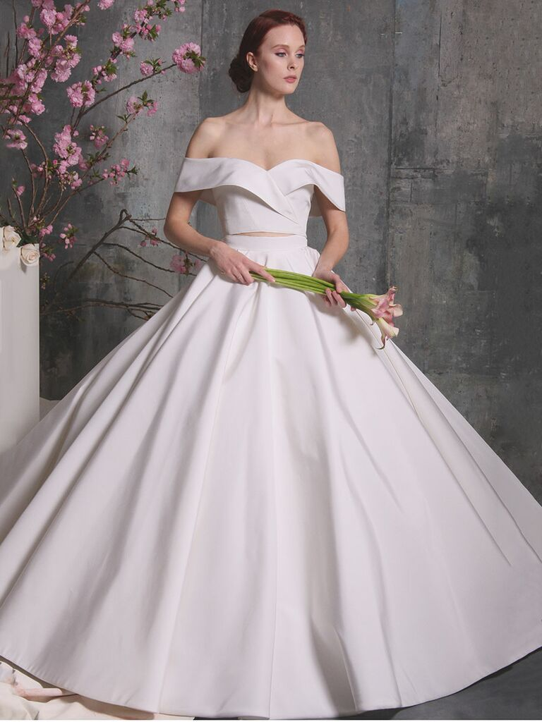 4cc390a181f3d Christian Siriano Spring 2018 two-piece off-the-shoulder wedding dress
