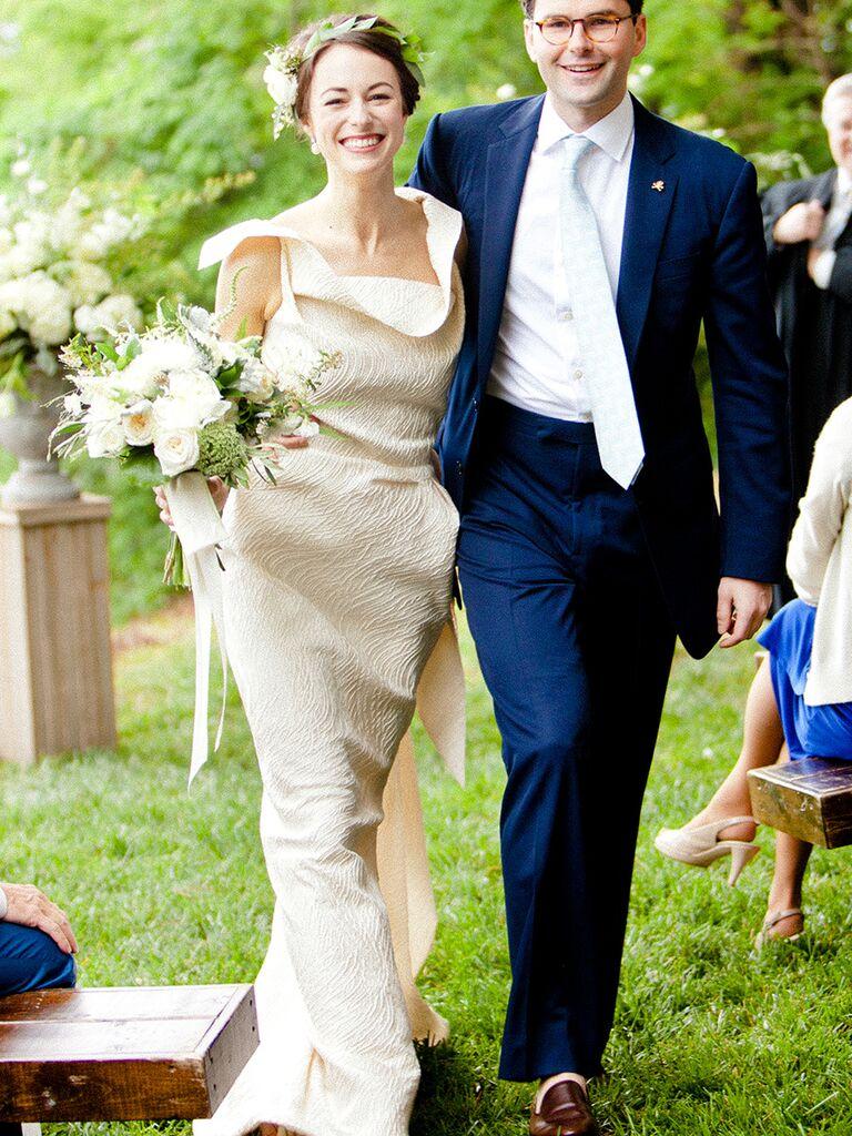 Off-white structured Roland Mouret wedding dress