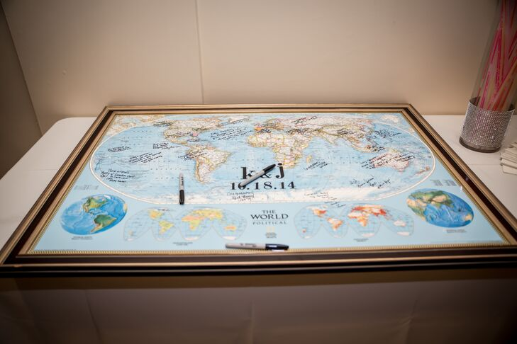 Kelly and Jonatan's wedding guests from around the world signed a world map guest book. It couldn't have been more fitting for this international couple.