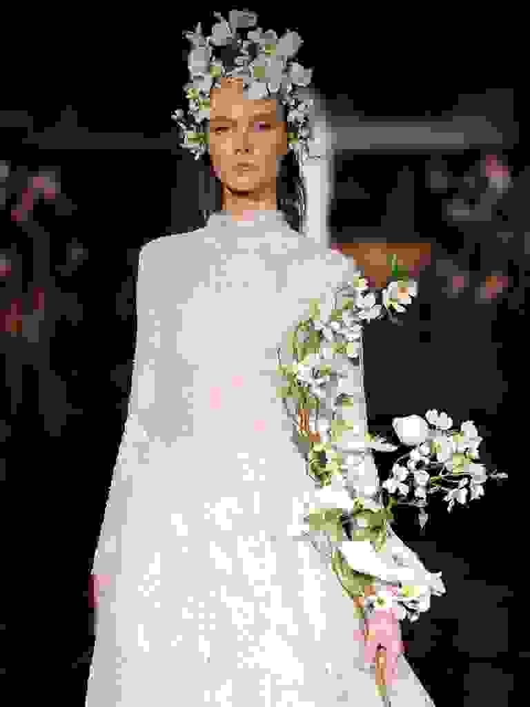 Reem Acra Spring 2019 lace wedding dress with high neckline