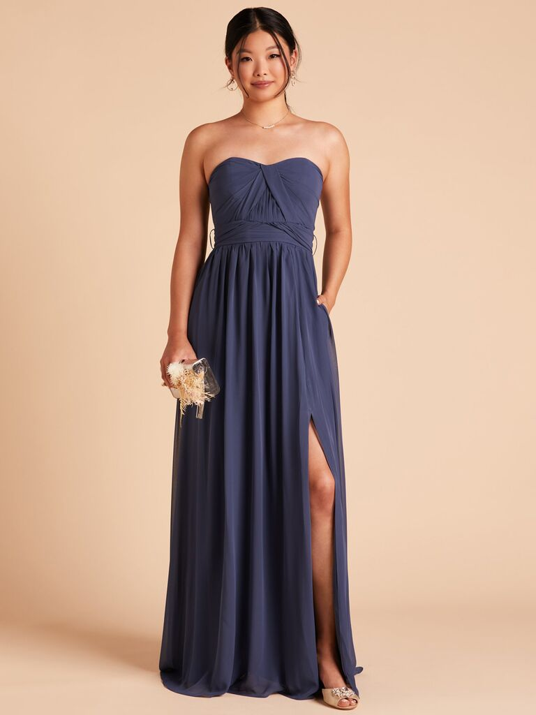 birdy grey blue grey strapless winter bridesmaid dress