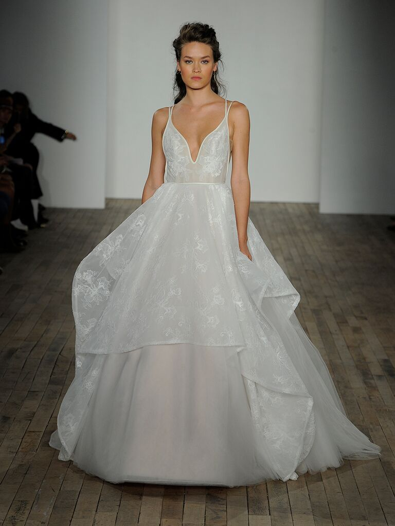 070b548b707 Hayley Paige Spring 2018 Kellan ivory lace ball gown with deep V-neckline