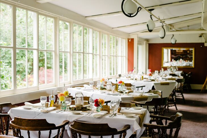 The Red Pheasant Restaurant, not only offered the perfect setting for Meredith and Justin's rustic affair, but it also had sentimental value — the restaurant is owned and operated by Meredith's parents.