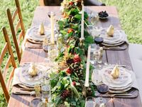 green floral garland table runner