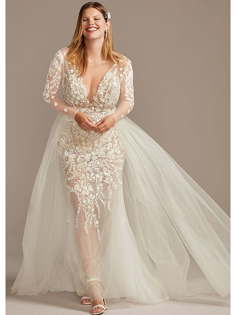 Lace long sleeve wedding dress with illusion neckline and sheer skirt