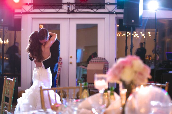 The couple shared a romantic first dance after dinner.