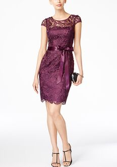 Adrianna Papell Adrianna Papell Lace Cap-Sleeve Illusion Sheath Dress Illusion Bridesmaid Dress