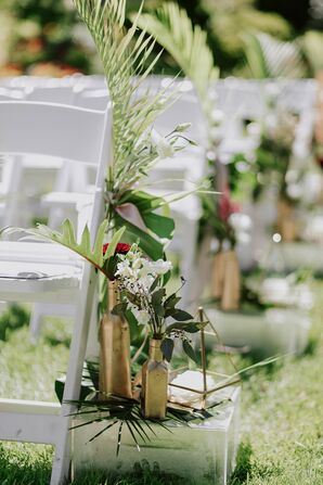 Aisle Decorations of Gold Vases and Greenery