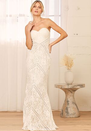 Lulus Promise My Heart White Lace Strapless Mermaid Maxi Dress Mermaid Wedding Dress